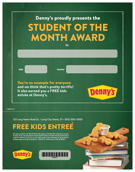 Student of the month Denny's